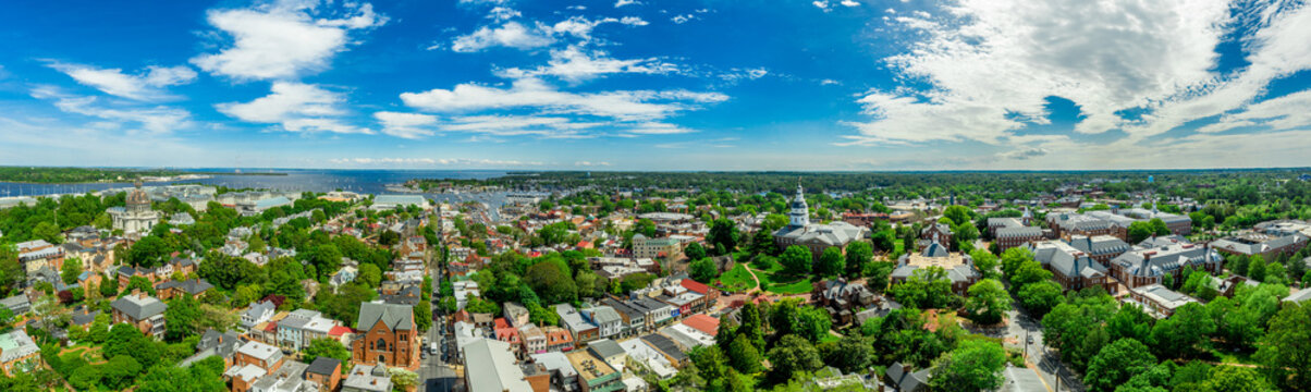 Aerial panorama view of Annapolis Maryland USA