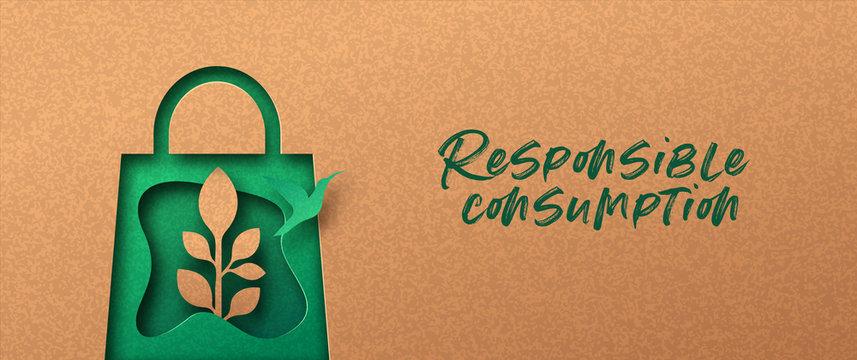 Responsible consumption green 3d papercut banner