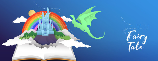 Fairy tale book banner papercut castle and dragon