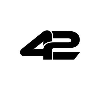 Initial 2 numbers Logo Modern Simple Black 42