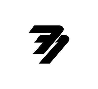 Initial 2 numbers Logo Modern Simple Black 77
