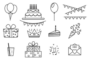 Set of party vector images. Fun icons. Flat holiday illustration. Stock Photo.