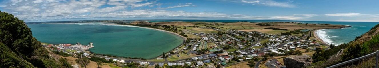 Panorama of the town of Stanley from the top of the Nut in Tasmania, Australia Fotomurales