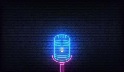 Microphone neon. Template for podcast, live music, stand up, comedy show