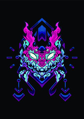 sacred tribal cat soul grab one for your soul  abstract ghost travel collection art blue pink purple poster