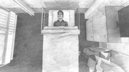 病院 コロナウイルス 入院 カーテンあり イラスト94