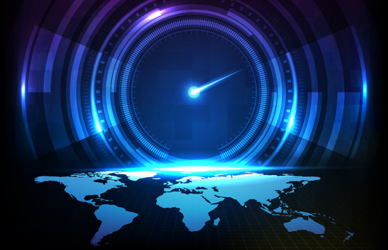 abstract background futuristic technology halogram of user interface hud ui speed meter guage with world map