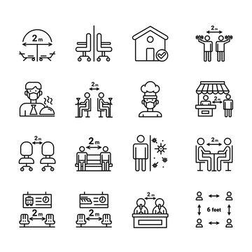 Social Distance icon set