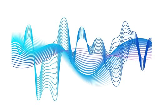Colorful realistic sound waves amplitude vector graphic illustration