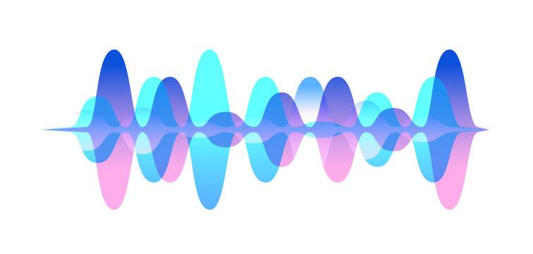Colorful gradient sound waveform vector graphic illustration