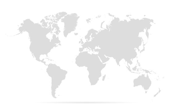 Map world. Worldmap global. Worldwide globe. Grey continents isolated on white background. Simple flat gray silhouette map world. Designs travel. Planet earth. Editable continent. Vector illustration