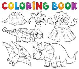 Poster Enfants Coloring book dinosaur subject image 5