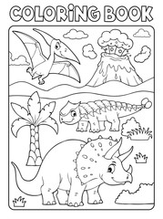 Photo sur Aluminium Enfants Coloring book dinosaur subject image 6
