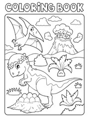 Photo sur Plexiglas Enfants Coloring book dinosaur subject image 7
