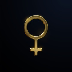 Keuken foto achterwand Wanddecoratie met eigen foto Golden Venus sign isolated on black background. Vector 3d illustration. Female symbol. Feminism concept. Astrological symbol design