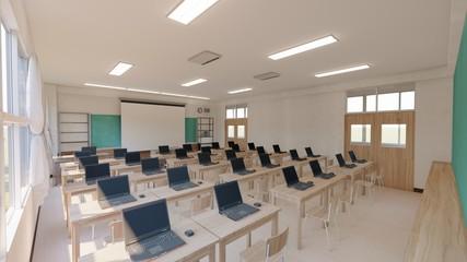 学校 教室 パソコン1人1台 人無し イラスト12 Fotomurales