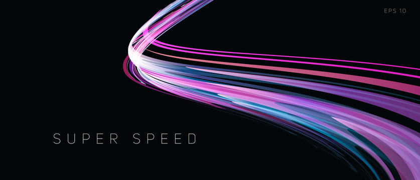 Speed track lights, neon glowing lines abstract composition, gradient purple curve in dark 3d space, wallpaper cover