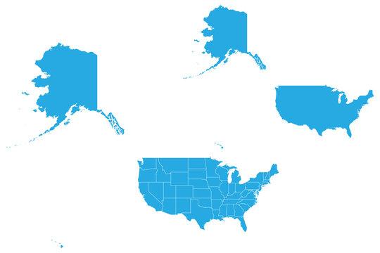 Map - USA Mercator Couple Set , Map of USA Mercator,Vector illustration eps 10.