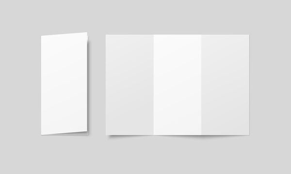 Blank tri fold brochure mock up. Open and closed booklet template.