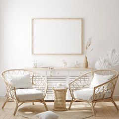 Mockup frame in cozy coastal style home interior, 3d render