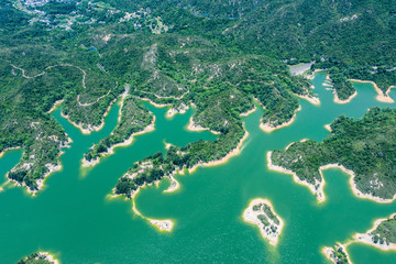 aerial view of Tai Lam Chung Reservoir, Hong Kong, summer, daytime