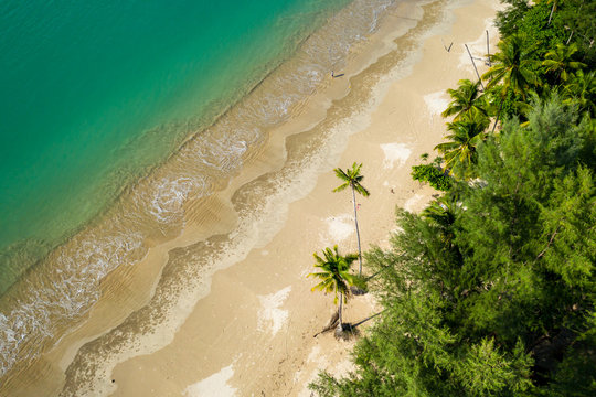 Aerial drone view of a deserted tropical beach in Thailand during the Coronavirus lockdown and travel bans