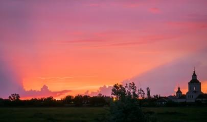 Foto auf Gartenposter Koralle Scenic View Of Landscape At Sunset