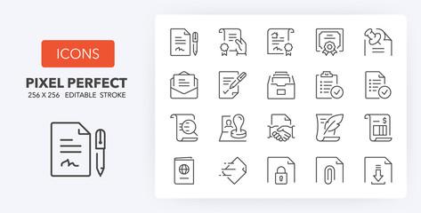 documents line icons 256 x 256