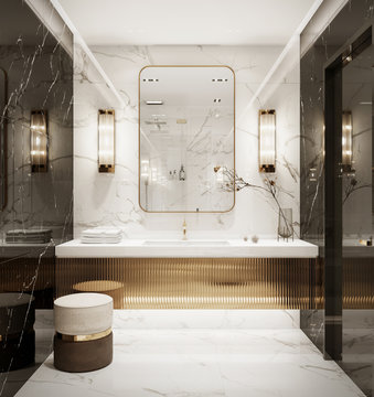3d interior of a black glossy and gold bronze bathroom with a toilet