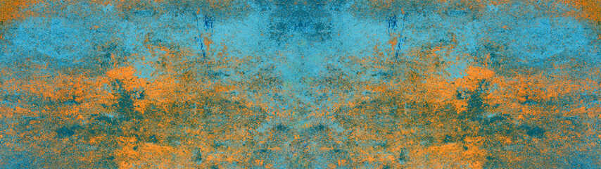 Blue orange rustic abstract concrete stone texture background panorama banner Long (complementary...