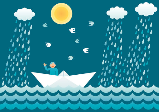 Small sailor on a paper boat waving and smiling. Vector simple illustration.