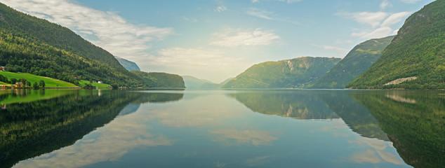 Photo sur Aluminium Europe du Nord Norwegian fjords mountain picturesque landscape view, Norway