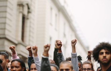 Arms raised in protest
