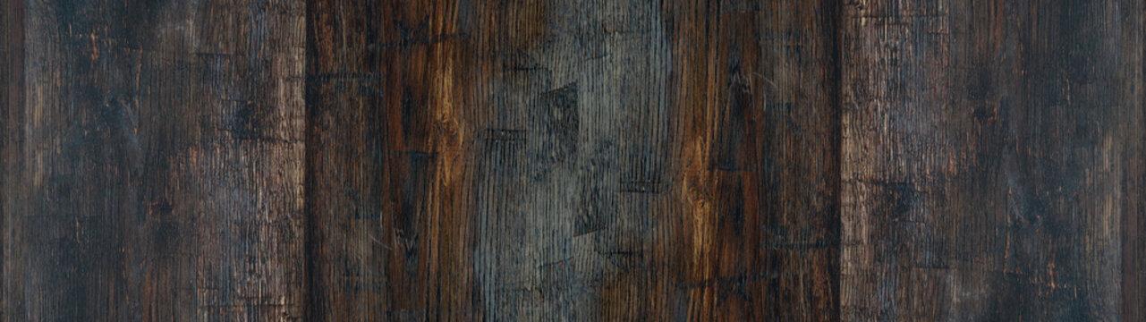 Old brown rustic dark burned oak wooden texture - wood background panorama long banner