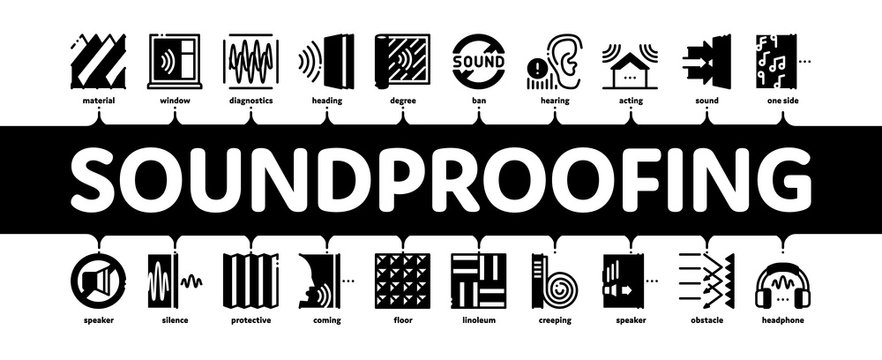 Soundproofing Building Material Minimal Infographic Web Banner Vector. Collection Of Soundproofing Windows And Roof, Wall Insulation And Floor Covering Illustrations