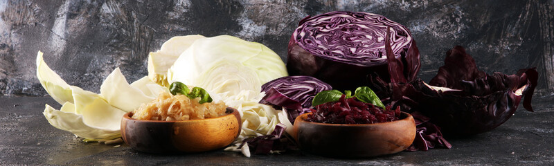 pickled red and fermented white cabbage and Chopped fresh cabbage. Prepare sliced vegetable for...
