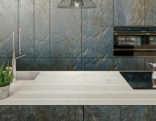 Kitchen countertop. Luxury Modern Living Room, 3d rendering illustration