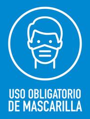Pancarta de uso obligatorio de mascarilla. Hombre