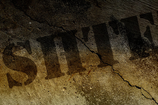 SHTF text in stencil letters on grunge or cracked concrete background. Digital illustration. Video title screen, podcast or web background, information poster or infographic.