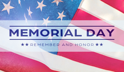 American National Holiday. US Flags with American stars, stripes and national colors.  Memorial Day.