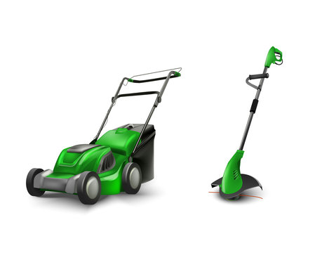 green electric lawn mower lawn mowing machine.