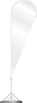Blank beachflag advertising banner, isolated on white,free copy space, fictional artwork, vector