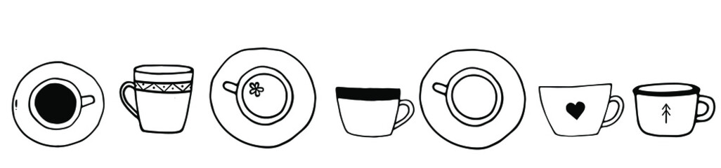 Hand drawn doodle set of coffee and tea cups. Vector tea time illustration for cards, posters, menu design.