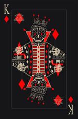 Kostki kart z czaszką króla. Plakat retro w stylu pop-artu.