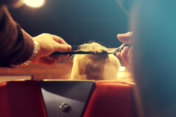 Hair cutting at the hairdresser. A child, a boy, during a haircut at a barbershop.