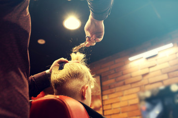 Hair cutting in a barbershop. A child, a boy, during a haircut at a barbershop.