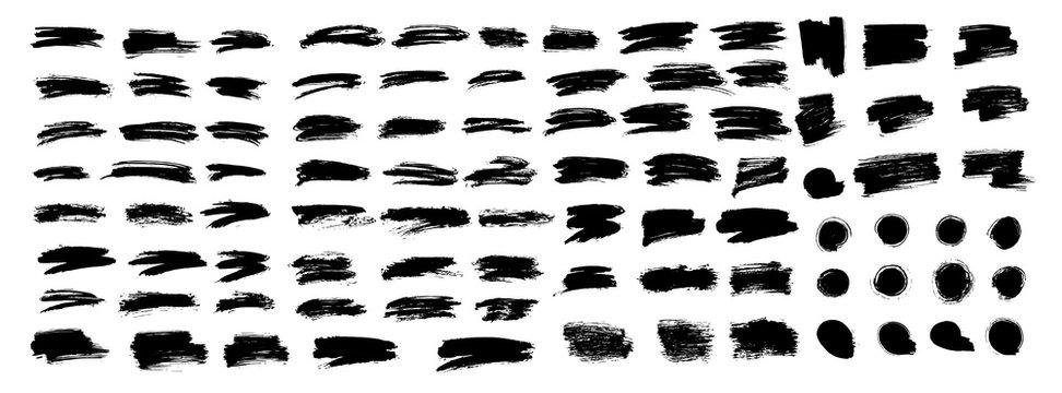 Big set of different brush strokes. Brush stroke, ink splashes stencil. Vector black paint, line or texture. Messy art design element, frame or background for text.Vector illustration brush stroke set