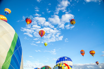 Wall Murals Balloon Low Angle View Of Hot Air Balloons Flying Against Sky
