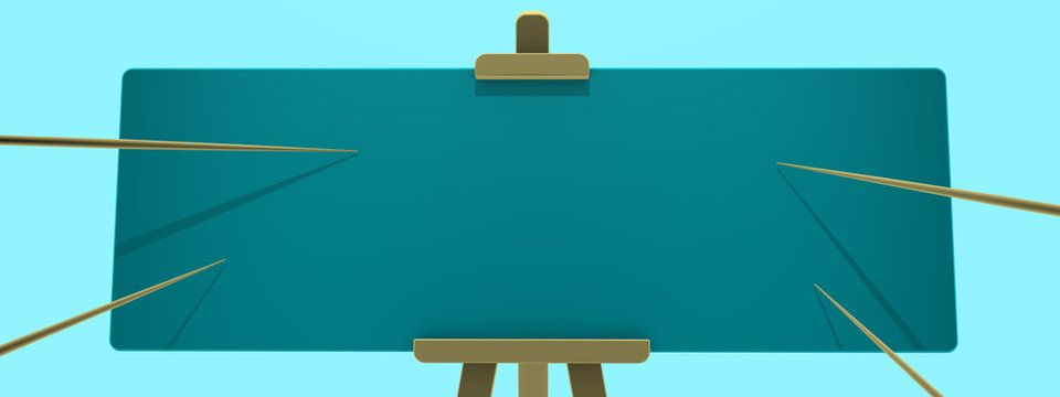 Blue widescreen empty presentation board on cyanite background and four pointers for any information. Stylish minimalistic render