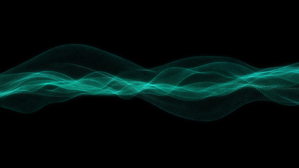 The wave strip is green, on a black background particles. 3d illustration